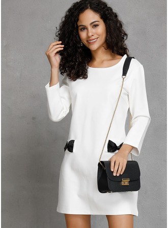 Cotton With Solid Above Knee Dress