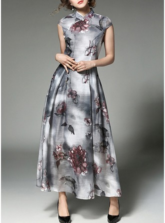 Chiffon With Print/Crumple Maxi Dress