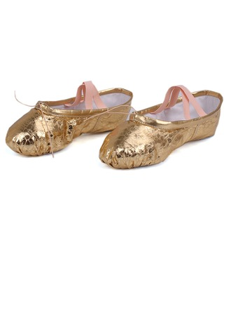 Women's Leatherette Flats Ballet Belly With Ankle Strap Dance Shoes