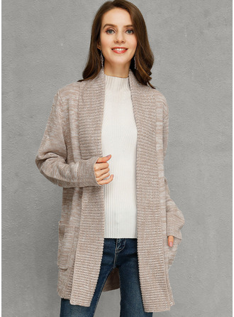 Ribbed Chunky knit Solid Pocket Polyester Cardigans Sweaters