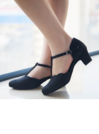 Women's Satin Heels Pumps Ballroom Swing Character Shoes With T-Strap Dance Shoes