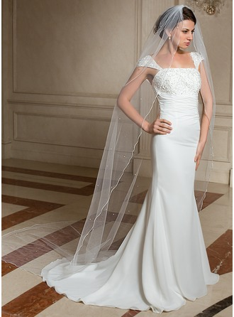 One-tier Pencil Edge Cathedral Bridal Veils With Faux Pearl