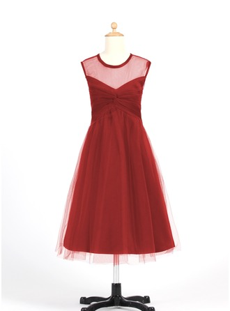 A-Line/Princess Scoop Neck Tea-Length Tulle Junior Bridesmaid Dress With Ruffle