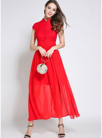 Chiffon With Lace/Stitching/Hollow/Crumple Maxi Dress