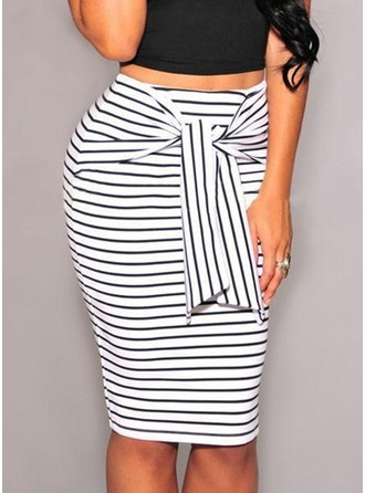 Cotton Blends Striped Knee Length Pencil Skirts