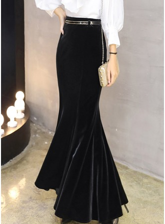 Velvet Plain Maxi Bodycon Skirts