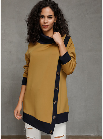 Long Sleeves Cotton High Neck Plést Halenky
