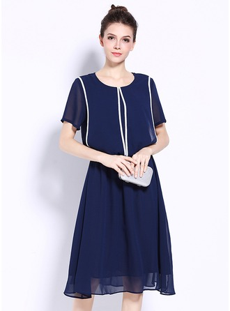Chiffon With Stitching/Resin solid color Knee Length Dress
