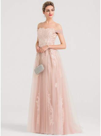 Off-the-Shoulder Sweep Train Tulle Evening Dress