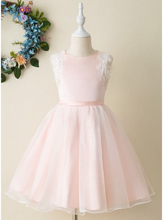Knee-length Flower Girl Dress - Organza Satin Sleeveless Scoop Neck With Appliques