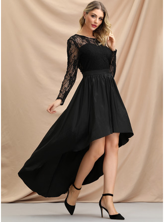 Lace/Cotton Blends Asymmetrical Dress