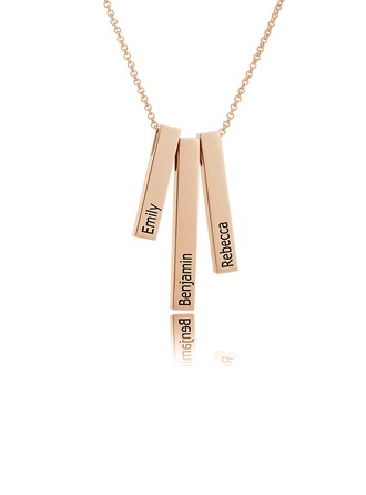 Custom 18k Rose Gold Plated Silver Engraving/Engraved Family Three Bar Necklace With Kids Names