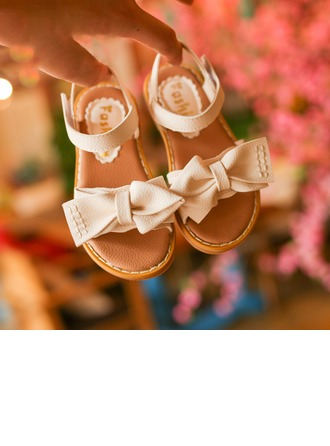 Girl's Leatherette Flat Heel Peep Toe Sandals With Bowknot