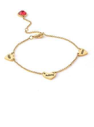 Christmas Gifts For Her - Custom 18k Gold Plated Sterling Silver Delicate Chain Name Bracelets With Heart