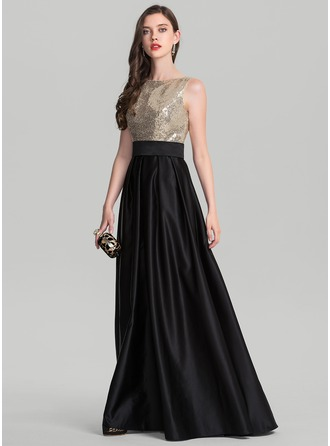 Scoop Neck Floor-Length Satin Evening Dress
