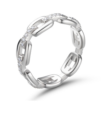 Chain Link Round Cut 925 Silver Women's Bands
