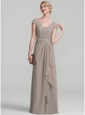 A-Line/Princess V-neck Floor-Length Chiffon Lace Evening Dress With Beading Sequins Cascading Ruffles