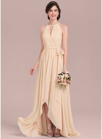 A-Line/Princess Scoop Neck Asymmetrical Chiffon Bridesmaid Dress With Ruffle Bow(s)