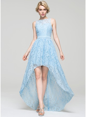 A-Line/Princess Scoop Neck Asymmetrical Lace Homecoming Dress