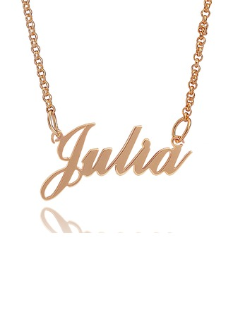 Custom 18k Rose Gold Plated Silver Signature Name Necklace