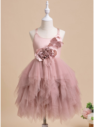 Ball-Gown/Princess Knee-length Flower Girl Dress - Sleeveless Scalloped Neck With Feather Flower(s)