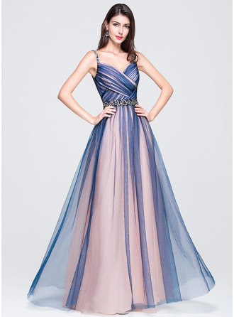 Sweetheart Floor-Length Tulle Prom Dresses With Ruffle Beading Sequins