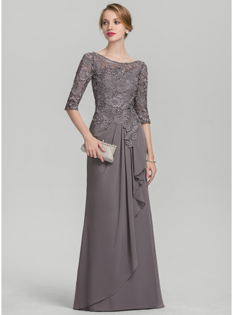 Scoop Neck Floor-Length Chiffon Lace Evening Dress With Cascading Ruffles