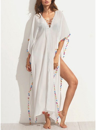 Polyester With Hollow/See-through Look Maxi Dress