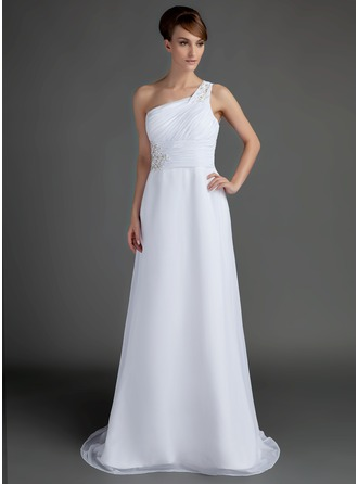 bridal colors a line princess one shoulder sweep chiffon of 27748