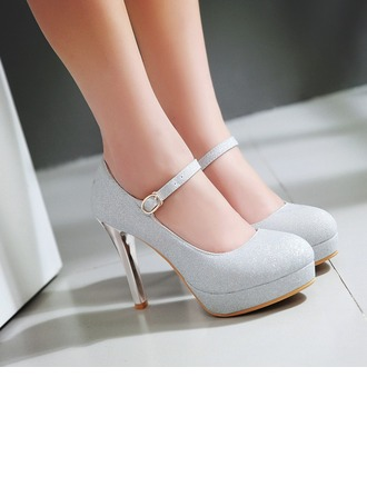 Women's Sparkling Glitter Stiletto Heel Closed Toe Wedges shoes