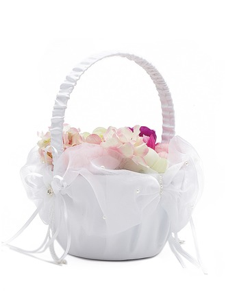 Satin With Imitation Pearls/Ribbon Flower Basket