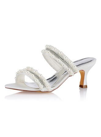 Women's Silk Like Satin Low Heel Peep Toe With Pearl