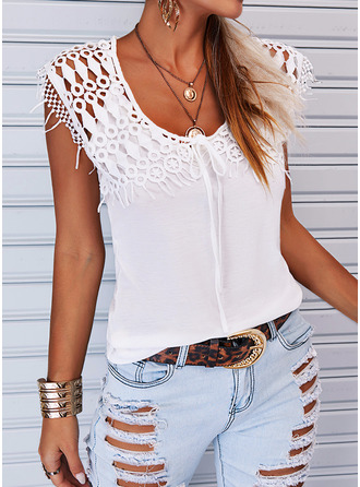 Regular Cotton Blends Round Neck Solid Tight Blouses