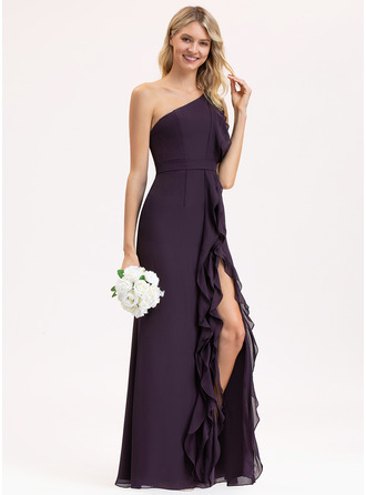 One-Shoulder Floor-Length Chiffon Bridesmaid Dress With Split Front Cascading Ruffles