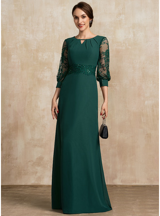 Scoop Neck Floor-Length Chiffon Lace Evening Dress With Beading Sequins