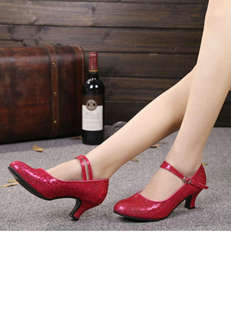 Women's Sparkling Glitter Heels Pumps Modern Party With Ankle Strap Dance Shoes