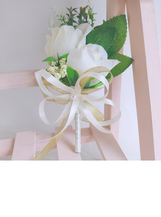 Classic Hand-tied Satin/Imitation Pearl/Artificial Flower Boutonniere (Sold in a single piece) - Boutonniere