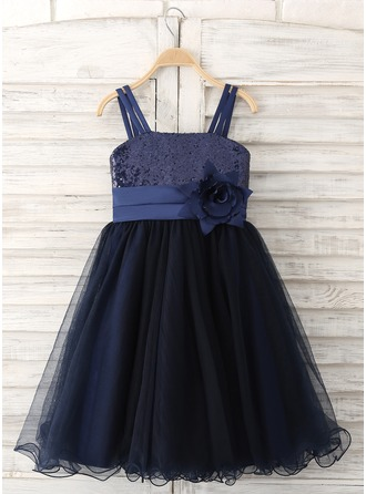 Knee-length Flower Girl Dress - Tulle Sequined Sleeveless Straps With Flower(s) Sequins