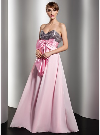 Empire Sweetheart Floor-Length Chiffon Sequined Holiday Dress With Ruffle Sash Bow(s)