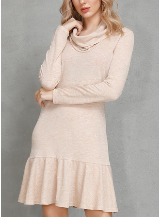 Cotton Blends With Ruffles/Solid Above Knee Dress
