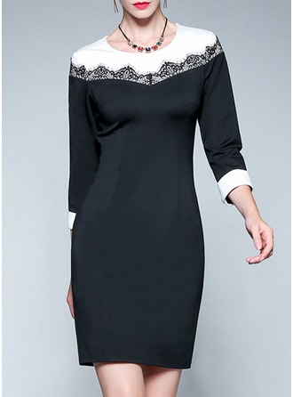 Polyester With Lace/Stitching Above Knee Dress