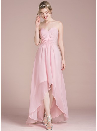 A-Line/Princess Sweetheart Asymmetrical Chiffon Lace Bridesmaid Dress With Ruffle
