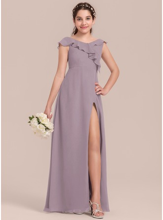 A-Line/Princess V-neck Floor-Length Chiffon Junior Bridesmaid Dress With Split Front Cascading Ruffles