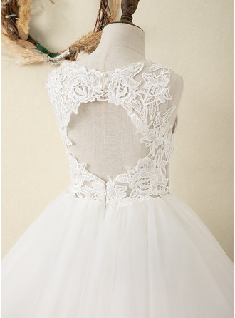 Po kolena Flower Girl Dress - Satén Tyl Krajka Bez rukávů Scoop Neck S Zpět díra