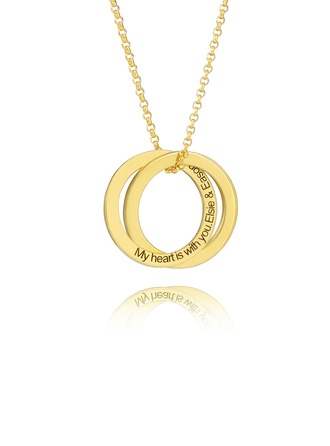 Custom 18k Gold Plated Silver Circle Engraved Necklace