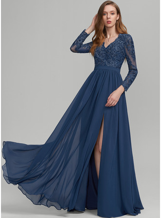 V-neck Floor-Length Chiffon Prom Dresses With Sequins Split Front