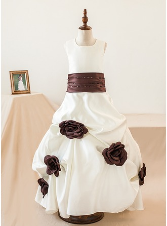 Ball Gown Floor-length Flower Girl Dress - Satin Sleeveless Scoop Neck With Flower(s)