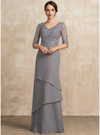 V-neck Floor-Length Chiffon Lace Mother of the Bride Dress With Cascading Ruffles