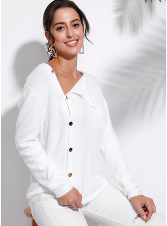 Couleur Unie Polyester Col V Pull-overs Pulls
