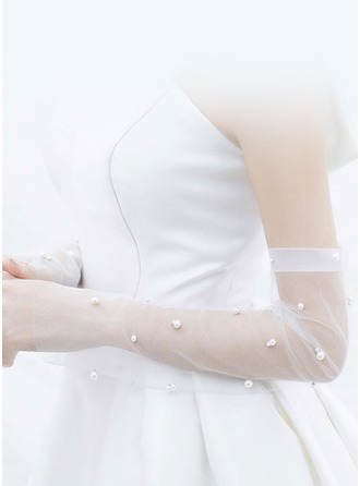Tulle/Imitation Pearls Bridal Gloves